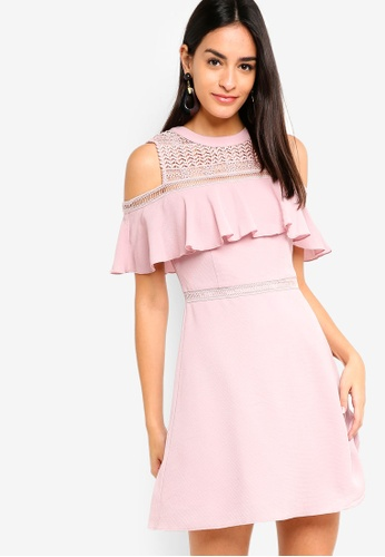 ZALORA pink Cold Shoulder Fit And Flare Dress 55BE5AAE76777AGS_1