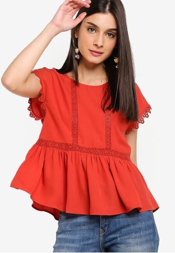 ZALORA 紅色 蕾絲滾邊娃娃上衣 D9FCDAA49A4A73GS_1