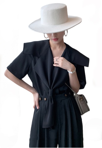 Sunnydaysweety black Short Sleeve Sailor Collar Top A21031913BK 16EE8AA93F3D30GS_1