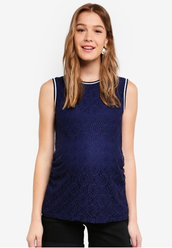 Dorothy Perkins 海軍藍色 Maternity Navy Sports Rib Lace Top FF947AA30C4760GS_1