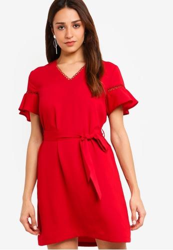 ZALORA red V-Neck Flare Sleeves Dress 1D186AA1F8B8F0GS_1