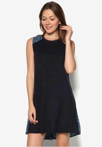 印花拼接寬擺連身裙,esprit 會員 服飾, 夏日洋裝