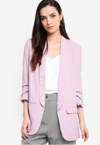 ZALORA WORK pink Ruched Sleeves Longline Blazer E03A7AACB68375GS_1
