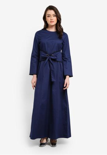 Zalia blue and navy Contrast Binding Waist Tie Dress 94C84AAE60FC91GS_1
