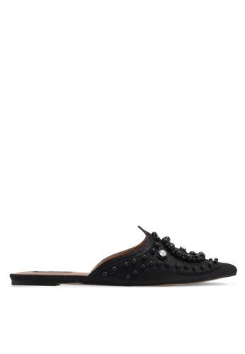 ZALORA 黑色 珍珠平底穆勒鞋 7F511SH672A6ADGS_1