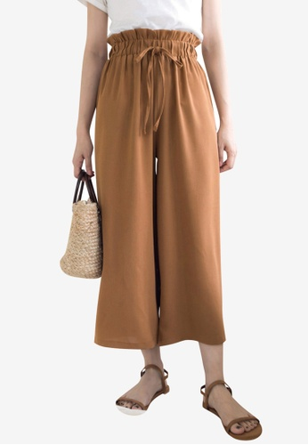 Tokichoi brown Paperbag Pants with Tie Front C9C8AAAC1722CEGS_1