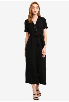 b8105a06df27 Miss Selfridge black Black Tailored Culotte Jumpsuit 5A980AA4E61A90GS 1