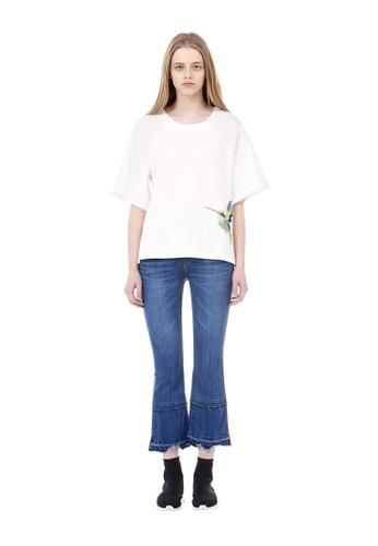 VOV(Voice of Voices) white White Sequined Bird Appliqué T-Shirt AC573AA87FB709GS_1
