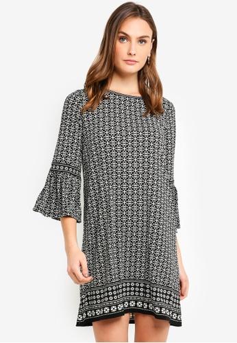 Max Studio black and multi Knit Bell Sleeve Dress 1E328AA747DBD0GS_1