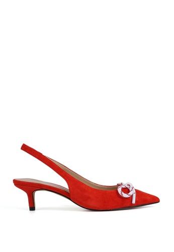 Miomia 紅色 蝴蝶結露跟高跟鞋 0E49ESH4422D16GS_1