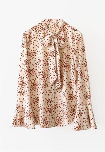 蝴蝶結系領印zalora時尚購物網的koumi koumi花小衫, 服飾, 上衣