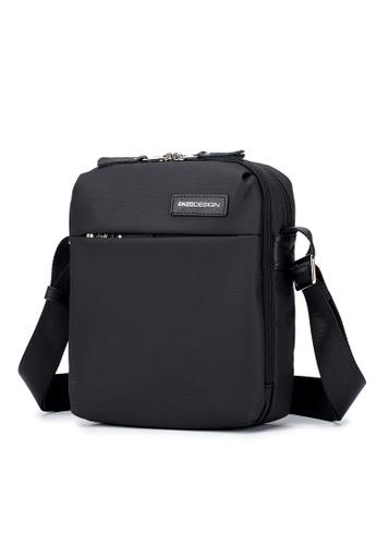 ENZODESIGN black ENZODESIGN Surface Coated Nylon Double Compartment Light Weight Crossbody Bag D10E1ACACA44D6GS_1