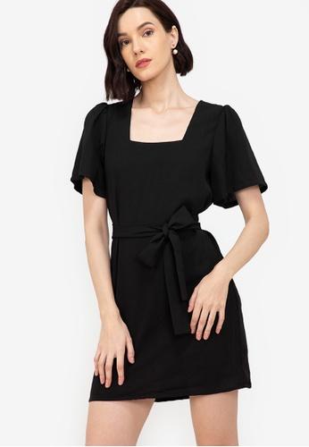 ZALORA WORK black Square Neck Puff Sleeves Dress FA30EAAED9047FGS_1