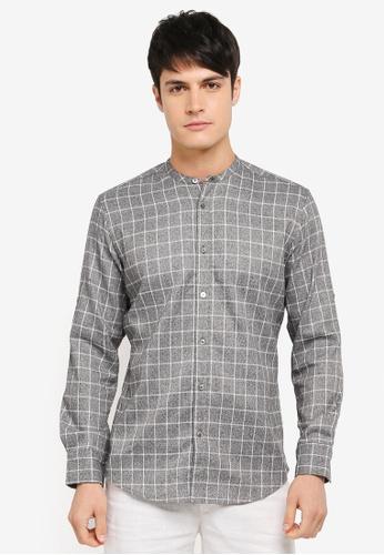 ZALORA grey Mandarin Collar Window Pane Checks Long Sleeve Shirt 4455FAA447B232GS_1