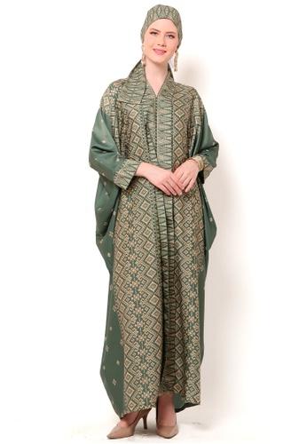 Kanzi by liza yahya green Kanzi Exclusive Long Sleeve Songket Kaftan 9918AAA236646AGS_1