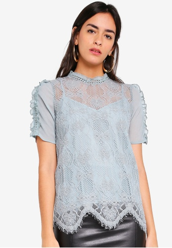River Island multi Lace Short Sleeve Top 1D043AA60A5EC2GS_1