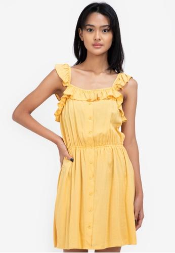 ZALORA BASICS yellow Ruffle Detail Mini Dress 4EBACAAFB10FE7GS_1