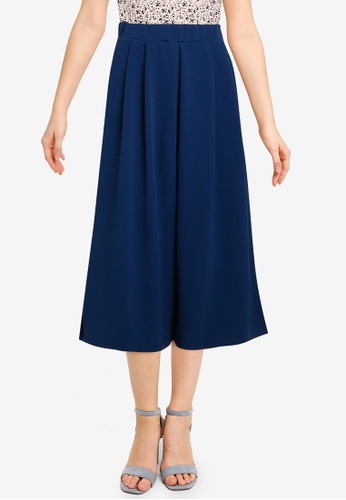 UniqTee navy Centre Pleated Wide Leg Pants 8342EAAE069EB7GS_1