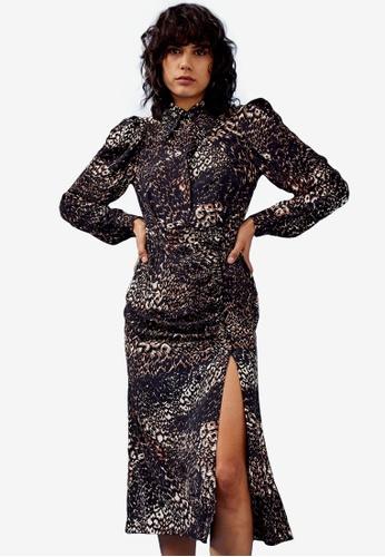 TOPSHOP brown Brown Animal Sleeve Midi Shirt Dress FD187AAAB01A73GS_1