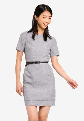 ZALORA BASICS grey Basic Textured Look Shift Dress With Belt 368E5AA6577287GS_1