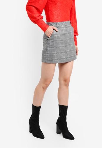 Miss Selfridge grey Checkered Mini A-Line Skirt MI665AA0SS6SMY_1