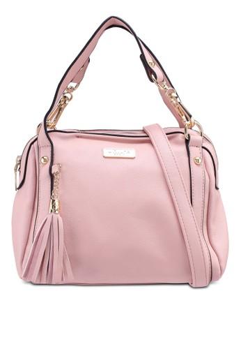 Unisa pink Pebbled Texture 3-Way Usage Top Handle Bag BEC63AC690AC09GS_1