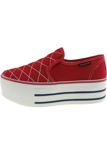 Maxstar 紅色 新款韩国鞋C50-Stitch時尚帆布布混合女紅色 US Women Size MA345SH92GTNTW_1