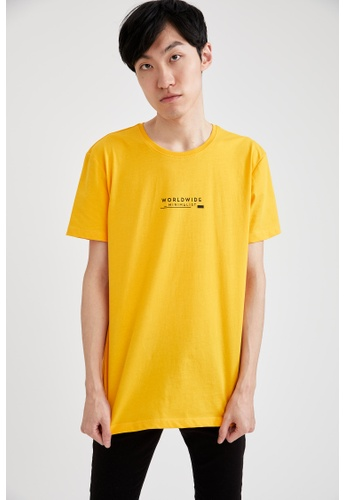 DeFacto yellow Short Sleeve Round Neck Cotton Printed T-Shirt D718CAA97F68C4GS_1
