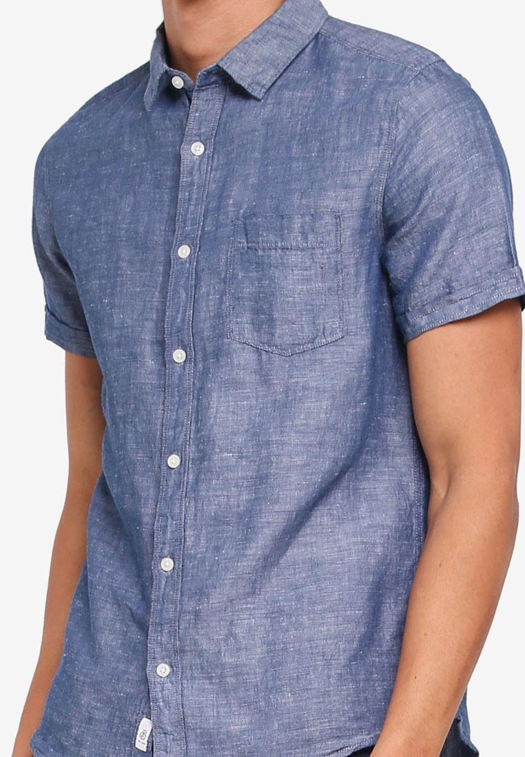 Linen Burton Navy London Blue Menswear Sleeve Indigo Shirt Short qwfEEI