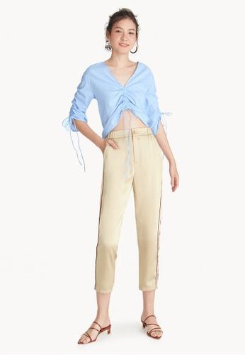 Pomelo gold Striped Side Satin Pants 9CF84AA9418956GS_1