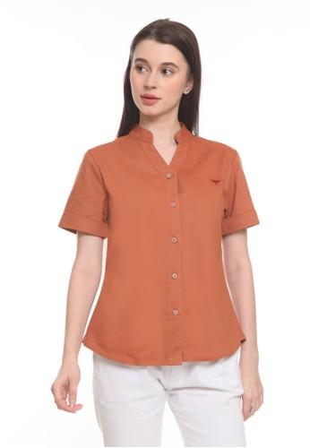 2nd Red orange Blouse V Neck S/S Oren VN2010 D6E9FAAF8F281CGS_1