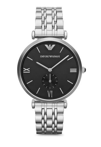 ARMANI black and silver Silver Steel / Black Armani AR1676 Watch AR024AC77MWCMY_1