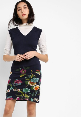 Mari 花卉zalora 折扣碼印花蓋袖連身裙, 服飾, 洋裝