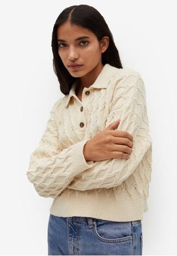 Mango beige Braided Knit Polo Shirt 1D3ACAA3B74EC8GS_1