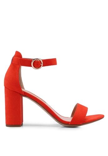 Dorothy Perkins 橘色 一字帶繞踝粗跟涼鞋 C85FASH516B24BGS_1