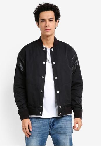 Calvin Klein black Omel Varsity Logo Jacket - Calvin Klein Jeans 2698CAA6C0672BGS_1