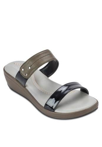 雙esprit 鞋色寬帶厚底涼鞋, 女鞋, 楔形涼鞋