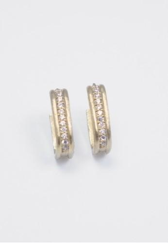 方型髮絲紋滾鑽耳環, 飾品配件, 耳zalora 包包 ptt環
