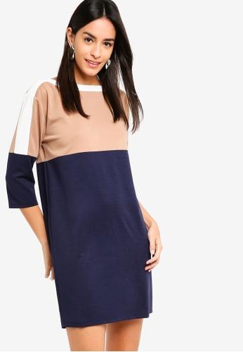 ZALORA multi and navy Stripe Blocking Knit Dress E8A89AA5DA85E3GS_1