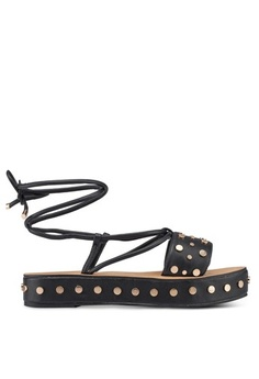 a7224cb0d11 MISSGUIDED. Flatform Studded Ankle Tie Sandals