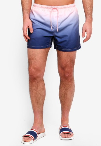Brave Soul pink and navy Dip Dyed Shorts F0A91AAE943091GS_1