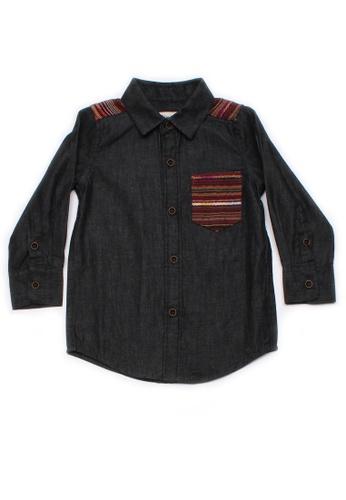 Mini Moley black Aztec Embroidered Yoke Boy's Long Sleeve Shirt E7AFBKAF761B0EGS_1