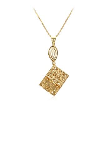 Glamorousky silver Fashion Gold Square Pendant with Necklace 9DE94AC5D8EC23GS_1