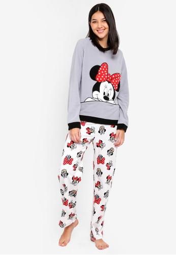 OVS black and grey Fleece Minnie Mouse Pyjamas Set With Print And Pattern A2708AAD2EA834GS_1