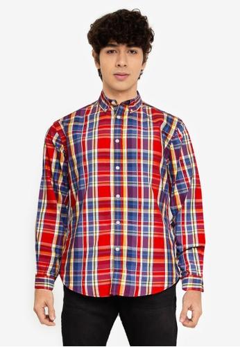 Springfield red Checked Shirt 5A7E5AA7677DEFGS_1