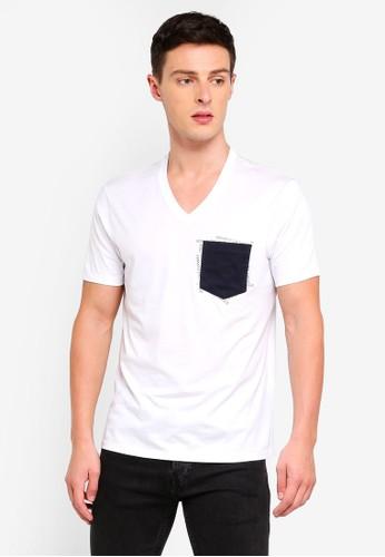 Armani Exchange white Contrast Pocket V-Neck T-Shirt DD00BAA6883FCEGS_1