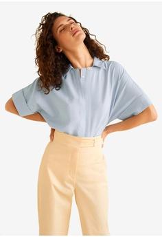 4598ce4a1b2e62 Mango blue Buttoned Textured Blouse 09F60AA93B059CGS 1