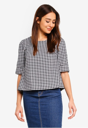 Hopeshow black Loose Fit Checkered Blouse E5DDBAA02B5644GS_1