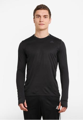 adidas black adidas supernova long sleeve tee AD372AA0SUFSMY_1