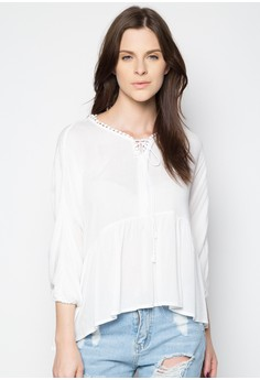 Flowy Top with Embroidered Circles
